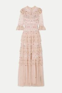 Needle & Thread - Eden Tiered Embellished Tulle Gown - Blush