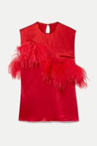 Marques' Almeida - Feather-trimmed Satin Top - Red