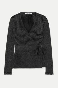 Diane von Furstenberg - Beck Ribbed Metallic Merino Wool-blend Wrap Top - Black