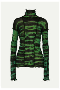 Asai - Hotwok Ruffled Tie-dyed Stretch-mesh Turtleneck Top - Green