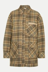 Andersson Bell - Dena Oversized Vegan Leather-trimmed Checked Wool Jacket - Beige