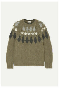 Brunello Cucinelli - Bead-embellished Intarsia Alpaca-blend Sweater - Green