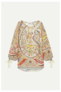 Etro - Tie-detailed Paisley-print Chiffon Blouse - Gold