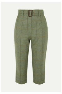 James Purdey & Sons - Cropped Checked Wool-tweed Straight-leg Pants - Green