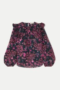 Ulla Johnson - Medine Ruffled Floral-print Cotton-blend Voile Blouse - Dark purple