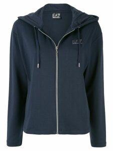 Ea7 Emporio Armani logo print zipped hoodie - Blue