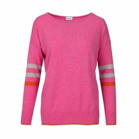 At Last. - Stripe Cashmere & Wool Jumper Pink
