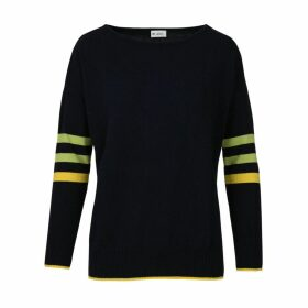 At Last. - Stripe Cashmere & Wool Jumper Navy