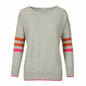At Last. - Stripe Cashmere & Wool Jumper Grey