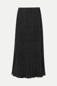 Diane von Furstenberg - Brooklyn Fringed Ribbed Metallic Merino Wool-blend Midi Skirt - Black