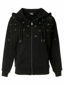 Karl Lagerfeld eyelet detail hoodie - Black