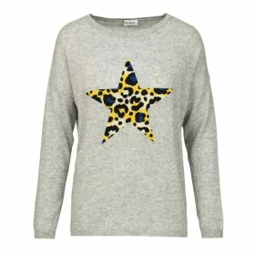 At Last. - Cashmere & Wool Jumper - Grey Leopard Star