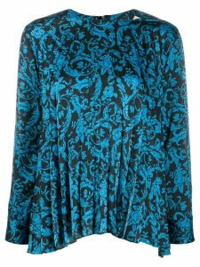 Sandro Paris pleated patterned blouse - Blue