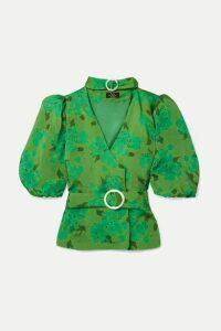 De La Vali - Mila Belted Floral-print Satin Blouse - Green