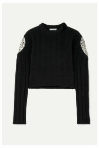 AREA - Cropped Crystal-embellished Ribbed Chenille Sweater - Black