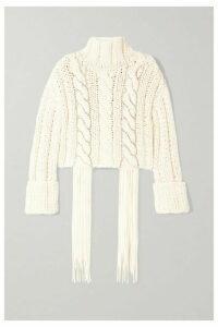 AREA - Cropped Tasseled Crystal-embellished Cable-knit Cotton-blend Sweater - White