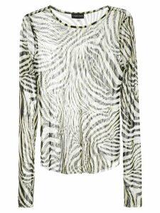 Callipygian zebra print mesh top - White