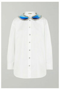 Christopher Kane - Embellished Cotton-poplin Shirt - White