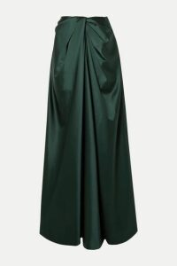 Rosetta Getty - Twist-front Satin Maxi Skirt - Dark green