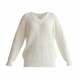 PAISIE - Oversized V-Neck Jumper In White