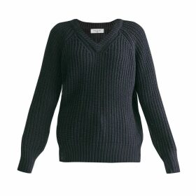 PAISIE - Oversized V-Neck Jumper In Navy