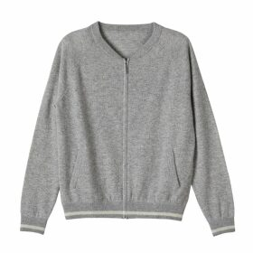 PAISIE - Knitted Cardigan With Side Neck Stripe In Lilac & White