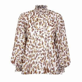 PAISIE - Ink Print Blouse With Sleeve Detail In Ivory & Black