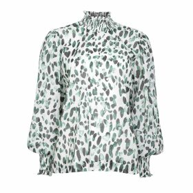 PAISIE - Two Tone Ribbed Polo Neck Jumper With Side Splits In Beige & Navy