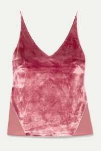 J Brand - Lucy Velvet And Chiffon Camisole - Pink