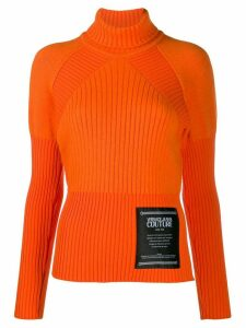 Versace Jeans Couture ribbed knit logo jumper - Orange