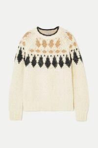 Brunello Cucinelli - Bead-embellished Intarsia Alpaca-blend Sweater - Beige