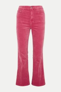 J Brand - Julia Cropped Cotton-blend Velvet Flared Pants - Pink
