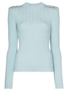 Balmain button-embellished ribbed jumper - Blue