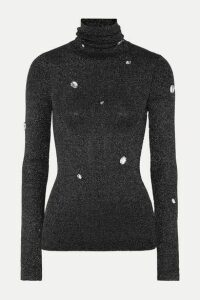 Christopher Kane - Crystal-embellished Metallic Ribbed-knit Turtleneck Sweater - Gray