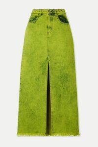 Marques' Almeida - Frayed Acid-wash Denim Maxi Skirt - Sage green