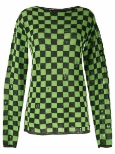 Marc Jacobs checkered distressed style jumper - Black