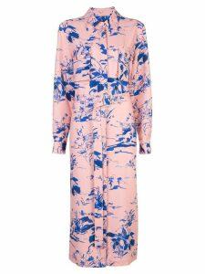 Sies Marjan floral belted midi shirt dress - PINK