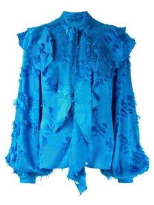 Peter Pilotto fringed detail ruffle blouse - Blue