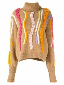 Peter Pilotto embroidered detail turtleneck sweater - Brown