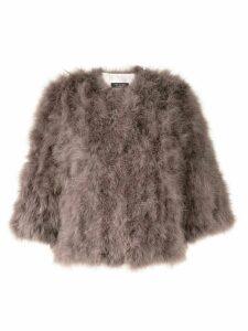 Yves Salomon feathered short jacket - Grey
