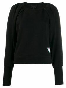 Emporio Armani holographic-effect logo print jumper - Black