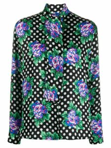 Balenciaga floral and polka-dot print blouse - Black