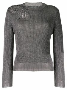 Alberta Ferretti METALLIC KNIT SWEATER - Grey