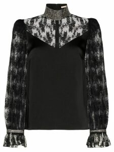 Christopher Kane crystal-embellished lace blouse - Black
