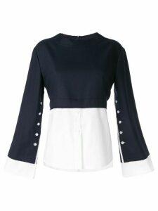 Moon J contrast long-sleeve sweater - Blue