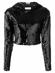 Faith Connexion embellished cropped hoodie - Black