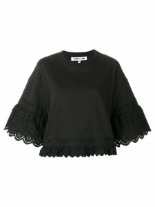 McQ Alexander McQueen broderie anglaise trim sweatshirt - Black