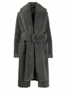 Helmut Lang shaggy fur belted coat - Grey