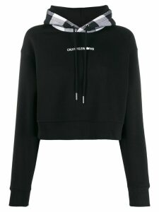 Calvin Klein Jeans check-panelled hoodie - Black