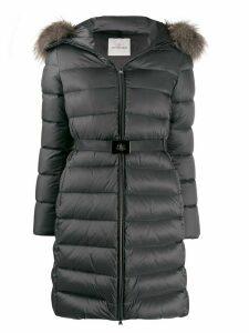 Moncler long belted padded coat - Grey